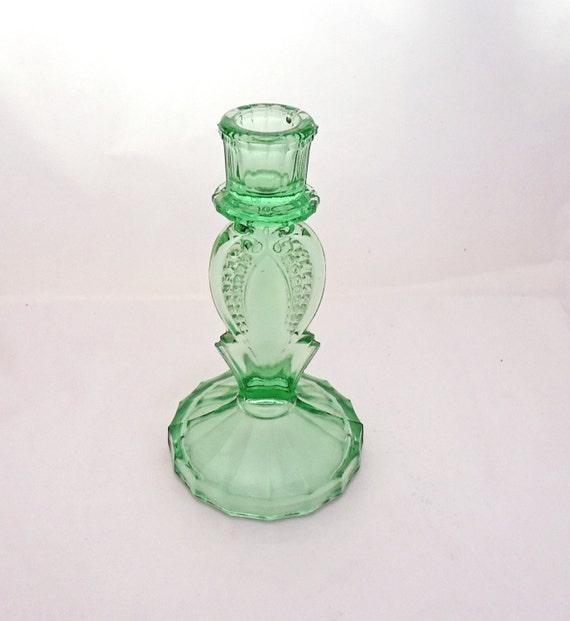 Vintage Art Deco Green Glass Candle Holder , Green Depression Glass,  Dressing Table Set, UK Seller