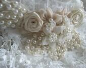 Beading Applique, bridal applique, wedding applique, pearl beaded applique with chiffon flowers, corsage applique, collar applique