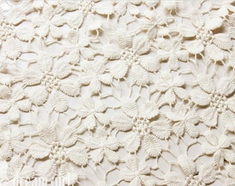 ivory cotton Lace Fabric with Daisy Flowers, guipure lace fabric