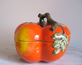 Tomato Shaped Italian Covered Dish Vine Stem Decorative Orange Storage