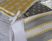 Baby Bedding Crib Quilt and Crib Skirt  Grey Yellow Modern Elephant Set