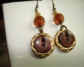 BUTTON EARRINGS - DANGLE Style - Brown - Gold Metal Buttons - Faceted Glass Beads
