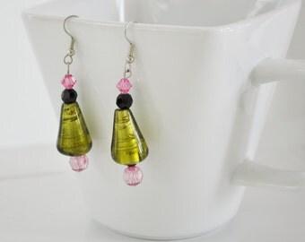 Peridot Green Earrings, Preppy Earrings Pink Green August Birthstone