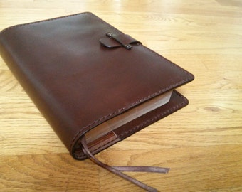 Handmade Custom Sized Leather Bible Cover in Dark Brown - Made for your Bible