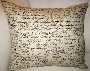 French Country Burlap Pillow, Reversible Antique Writing Script Cushion, French Country Home Decor, Vintage Script, Shabby Chic Home Decor