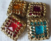Vintage Rhinestone Gold Tone Button Covers NONY New York Lot of 4