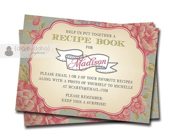 "Shabby Chic Blush Pink Roses Insert Card Bridal Shower Vintage Rose Coordinating 2.5x3.5"" Small Enclosure Cards - Madison Style"