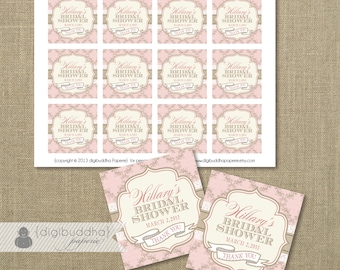 "PINK FAVOR TAGS Bridal Shower Damask Lace Boho Chic Baby Shower Wedding Labels Thank You Birthday 2.25"" DiY Printable or Printed- Hillary"