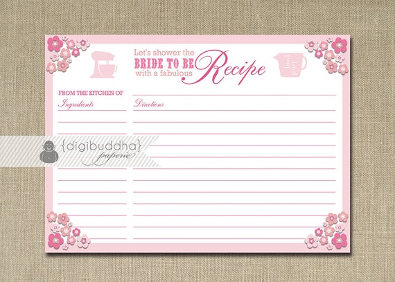 Pink Recipe Cards For Bridal Shower Pink Flowers Recipe Card