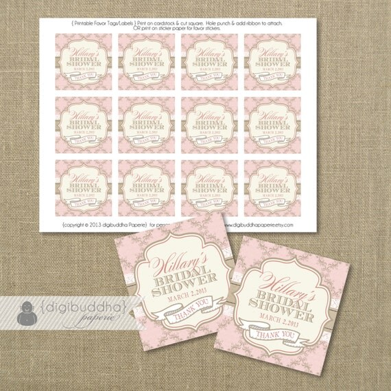 Pink favor tags bridal shower damask lace boho chic baby What do you give at a bridal shower