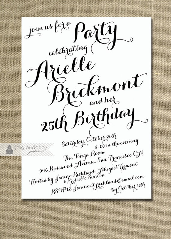 Modern Script Birthday Invitation Calligraphy Party