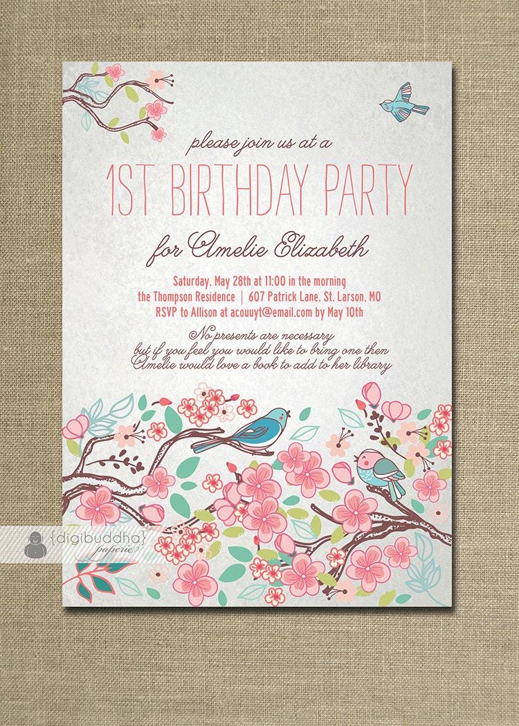 bloom bird birthday invitation garden party by digibuddhapaperie. Black Bedroom Furniture Sets. Home Design Ideas