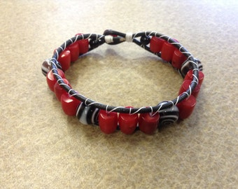 Spiral and Red Glass Bead Wrap Bracelet