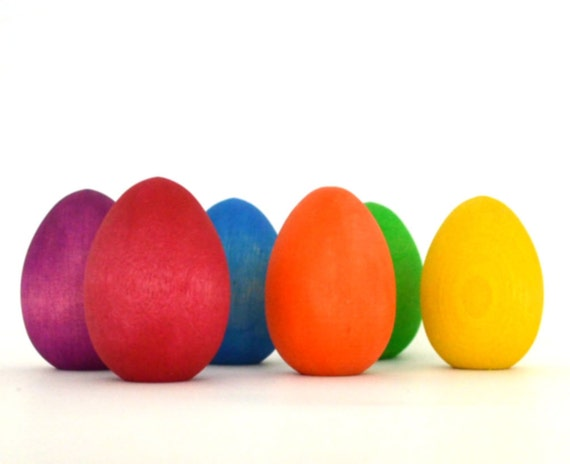 Wooden Easter Eggs - Rainbow Wooden Toy - Nature Table - Play Food - Wooden Eggs with Flat End for Standing
