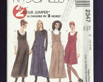 McCalls 2347 Raised Waist Scoop Neck Jumpers with Pocket and Shoulder Details Sizes 16-18-20 UNCUT