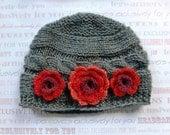 Newborn Baby Girl Hat - Hand Knitted Baby Hat - Baby Girl Knit Hat
