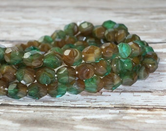 Green Brown Bead 6mm Czech Glass Firepolish Faceted Round WOODSY (25)