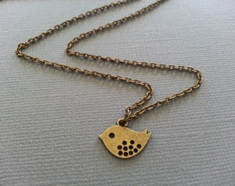 Simple And Sweet  Mod Bird Necklace in Antique Brass
