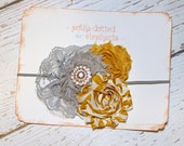 Shabby Flower Headband- Mustard Yellow Stripe