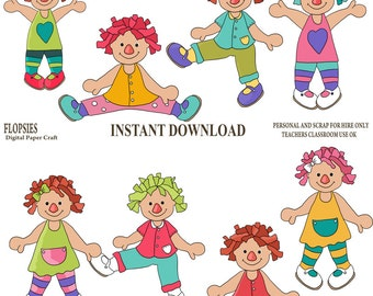 Rag Doll Clipart, Doll Clipart, Instant Download, Toy Clipart