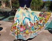 Vintage 1950s skirt Mexican tourist handpainted full circle multicolor S/M cotton swing dance