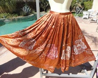 "Vintage 1950s full circle skirt XS/S swing ballroom dance embroidered satiny copper 25"" waist"