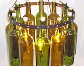 """16"""" Recycled  Wine Bottle Chandelier, """"Sea Glass"""" with  Black Wrought Iron"""