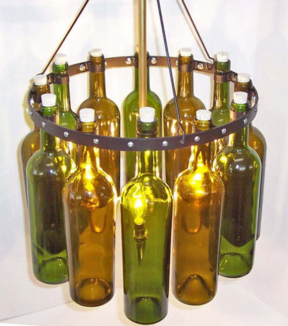 "Items similar to 16"" Recycled Wine Bottle Chandelier, ""Sea Glass&qu..."