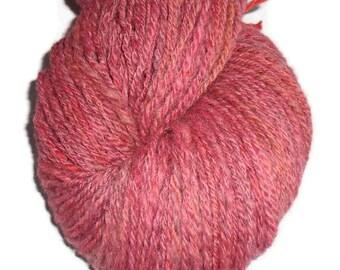 Handspun Hand Dyed 3-ply Soft Merino Yarn, Dusty Rose Yarn, Rose Wool Yarn, Handspun Yarn, Handpainted Wool, Rose Merino Yarn, Rose Wool