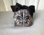 Fleur De Lis Slate Coaster on Recycled New Orleans Roofing Slate