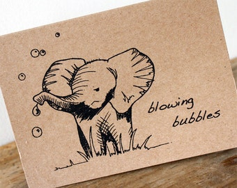 Elephant bubbles card - Black gocco screen-printed on brown recycled  kraft card