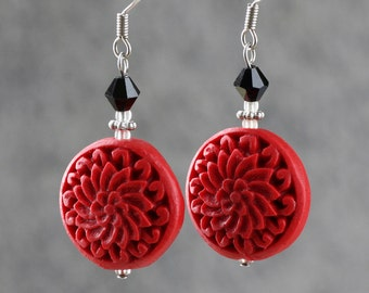 Red lacquer flower Chinese drop earrings Bridesmaids gifts Free US Shipping handmade Anni Designs