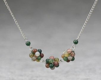 Stone agate three balls pendant necklace Bridesmaid gifts Free US Shipping handmade Anni designs