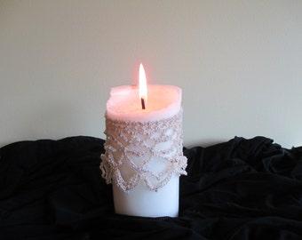 Handmade, crocheted, beaded, candle drape.