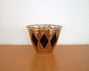 Retro Gold and Black Ice Bucket, Mad Men Wine Chiller,Harlequin Pattern