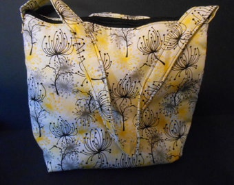 Handmade Yellow, black, grey flower Print,   over the shoulder purse,