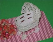 Vintage Miniature Baby Bassinet Crib White Plastic for Crafts, Dolls, Dollhouse Furniture, Party Favors
