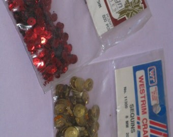 Vintage Sequins 2 New Packages Red and Gold 1000 Cup Sequins for Crafts