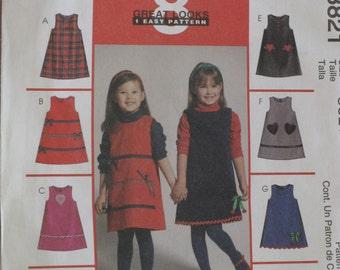 McCalls Children's Girls Jumper Dress, Sewing Pattern Sizes  3, 4, 5, 6   Dated 2002 Uncut