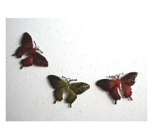 Butterfly Elements Metal Orange Green  Set of three            destash