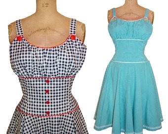 1950s Style Rockabilly Gathered Bust Circle Skirt Dress Custom Made in Any Size and Fabric