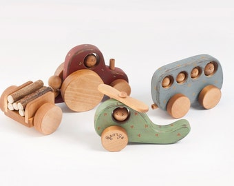 Personalized Wooden Toys For Boys, Organic Toys Vehicles: Wooden Tractor, Wooden Helicopter, Wooden Bus