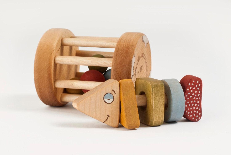 Organic Baby Toys : Baby rattle toy organic handmade wooden
