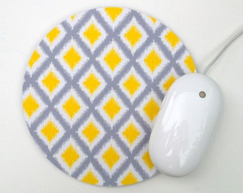 Diamond Ikat Mouse Pad / Yellow and Gray / Round Mousepad / Office Home Decor