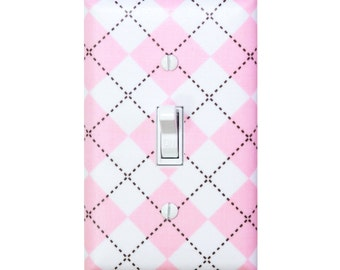Argyle Light Switch Plate Cover / Baby Girl Nursery / Light Pink White Remix / Kids Room / Ann Kelle for Robert Kaufman / Urban Zoologie
