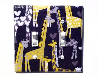 Giraffe DOUBLE Toggle Light Switch Plate Cover / Yellow Gray / Children Kids Room / Baby Boy Nursery Decor / Michael Miller