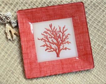 Coral Decor / Coral Wall Art / Beach Decor / Sea Shore Print / Decoupage Plate Wall Hanging / coral sea shells