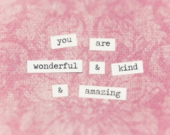 You Are Kind Notecard, Cultivate Kindness, Pastel Pink Notecard, Inspirational Quote, Notecard