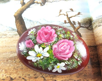 Handpainted Roses And Lilies Art Rock