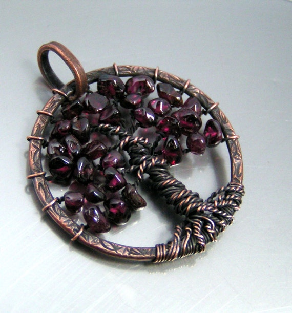 Tree of Life Pendant Garnet Copper Wire Wrapped